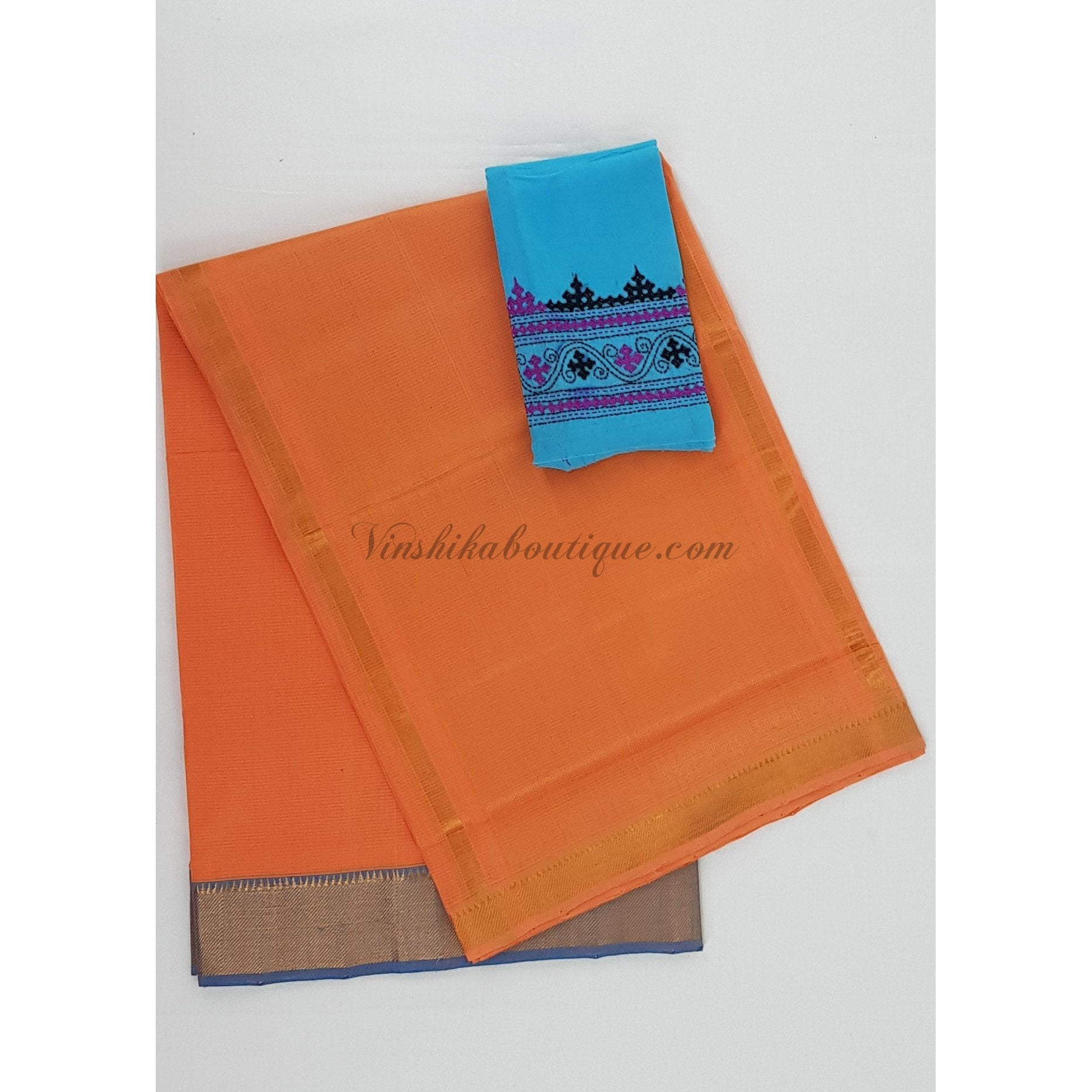 Saffron and blue Color Mangalagiri cotton saree with golden zari border - Vinshika