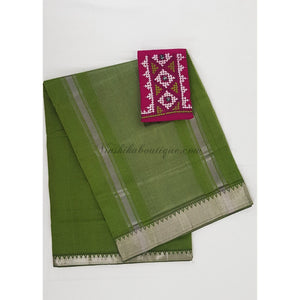 Green Color Mangalagiri cotton saree with silver zari border - Vinshika