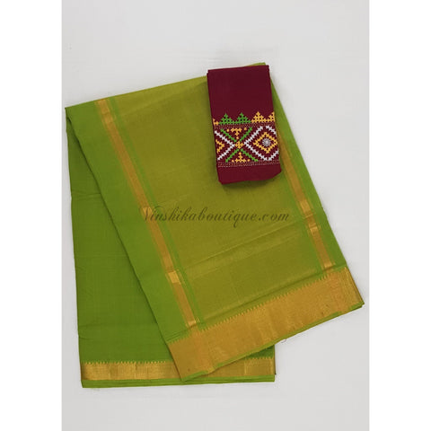 Green Color Mangalagiri cotton saree with golden zari border - Vinshika