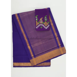 Purple Color Mangalagiri cotton saree with golden zari border - Vinshika