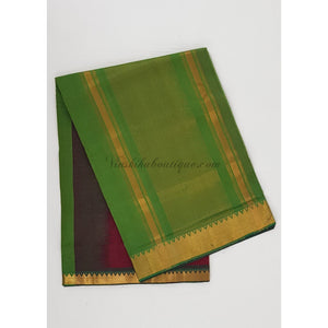 Maroon and green color Mangalagiri cotton saree with golden zari border