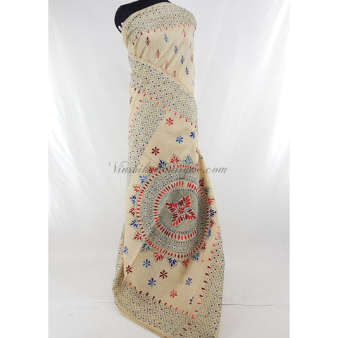 Half white chanderi silk hand embroidered kantha work saree - Vinshika