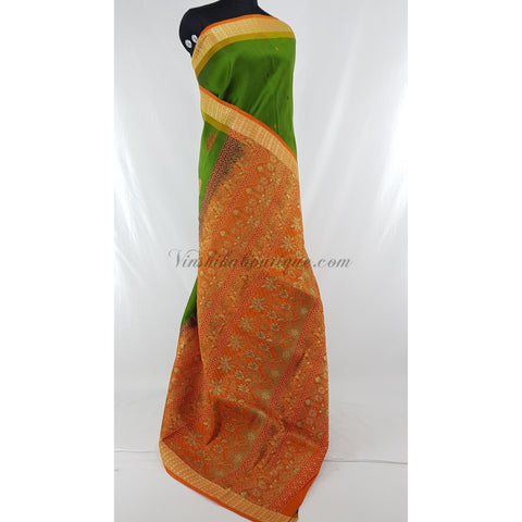 Green with Orange color Baluchari silk saree.