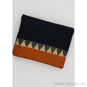 Black color Handwoven Narayanpet mercerized temple border pure cotton fabric - Vinshika