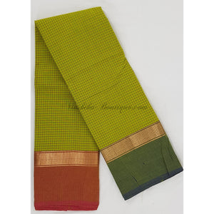 Kanchi cotton saree with zari border and all-over checks - Vinshika