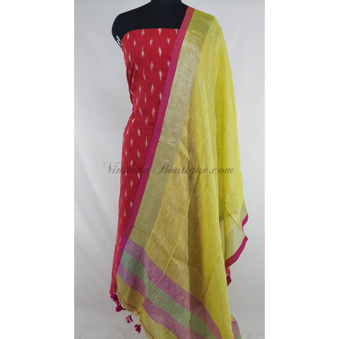 Linen by Linen dupatta with Ikat cotton top / Salwar Set
