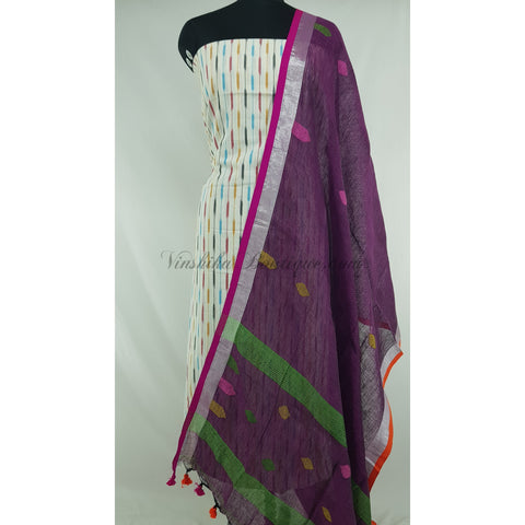Linen by Linen jamdani dupatta with Ikat cotton top / Salwar Set
