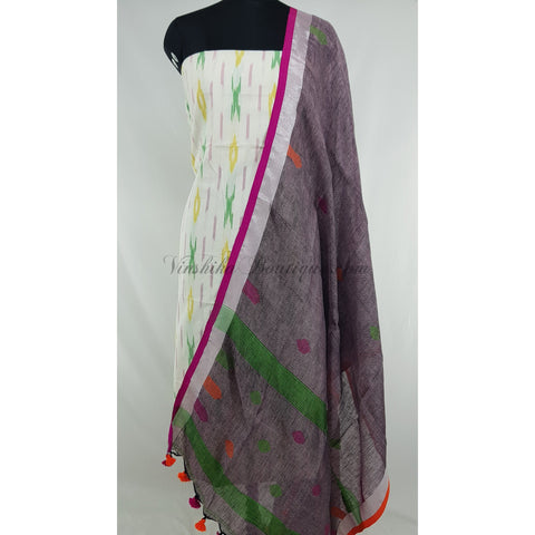 Linen by Linen dupatta with Ikat cotton top / Salwar Set - Vinshika