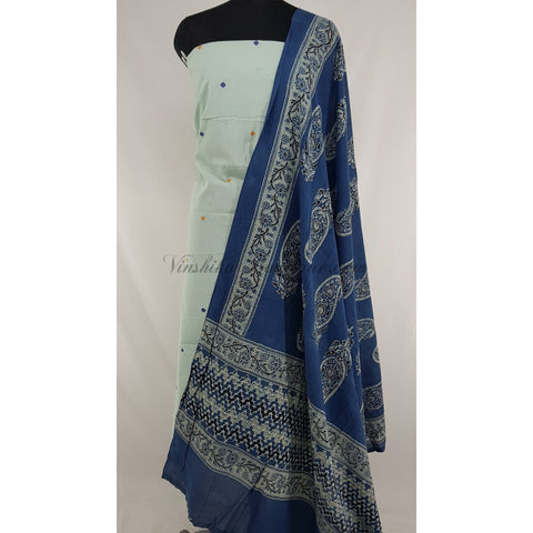 Hand printed natural dyed Indigo Ajrakh cotton dupatta with khadi butta cotton top / Salwar Set - Vinshika