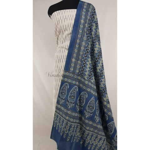 Hand printed natural dyed Indigo Ajrakh cotton dupatta with Ikat cotton top / Salwar Set - Vinshika