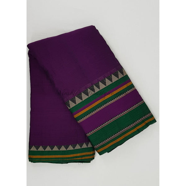 Handwoven Narayanpet mercerized big border pure cotton fabric - Vinshika