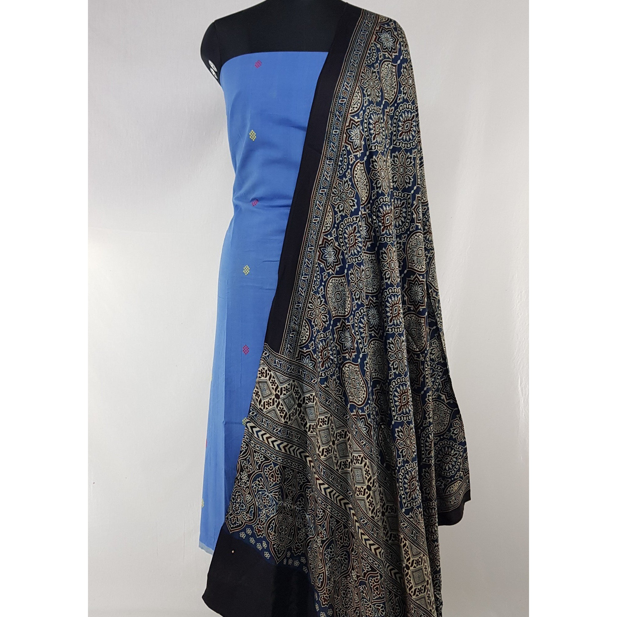Hand printed natural dyed Ajrakh modal silk dupatta with khadi jamdani butta cotton top / Salwar Set - Vinshika
