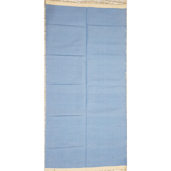 Sky Blue and White Color Handwoven Dhurrie – 3 ft X 6 ft - Vinshika