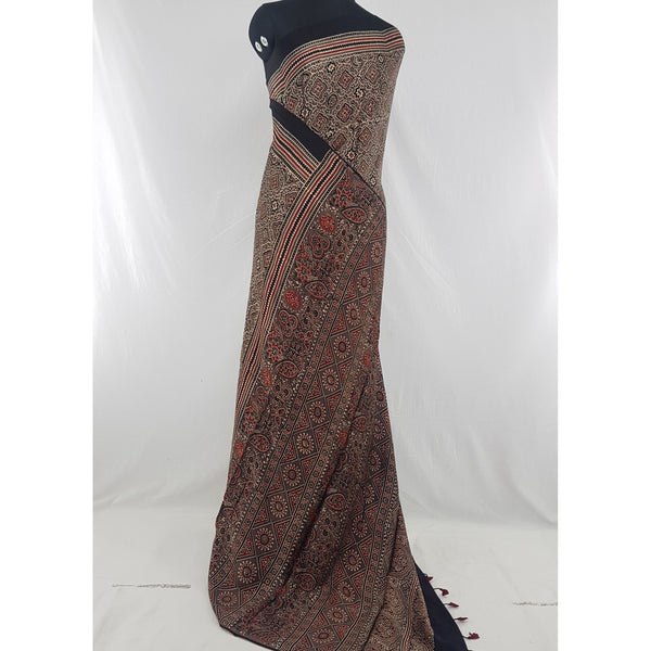 Ajrakh hand block printed natural dyed Modal Silk saree with Tassels - Vinshika