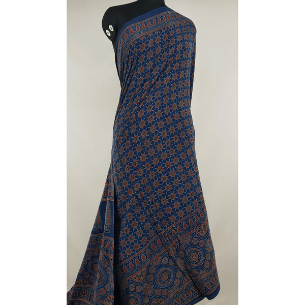 Ajrakh hand block printed natural dyed mul mul cotton saree with plain blouse - Vinshika
