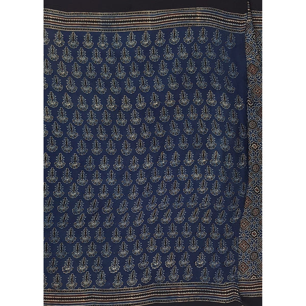 Ajrakh hand block printed natural dyed Modal Silk saree with blouse - Vinshika