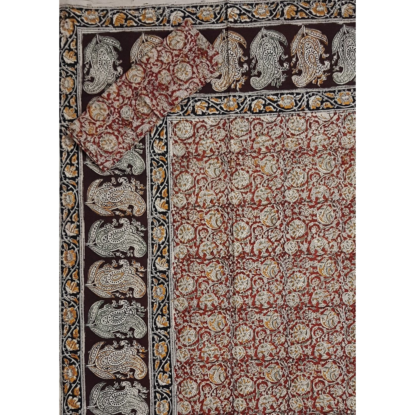 Kalamkari Hand Printed Cotton Double Bed Sheet - Vinshika