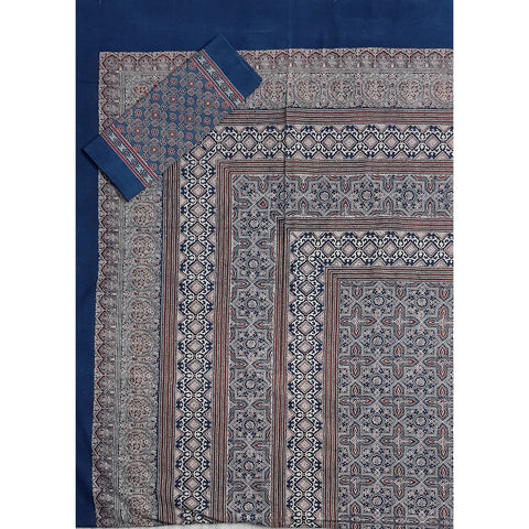Ajrakh Hand Printed Cotton Double Bed Sheet - Vinshika