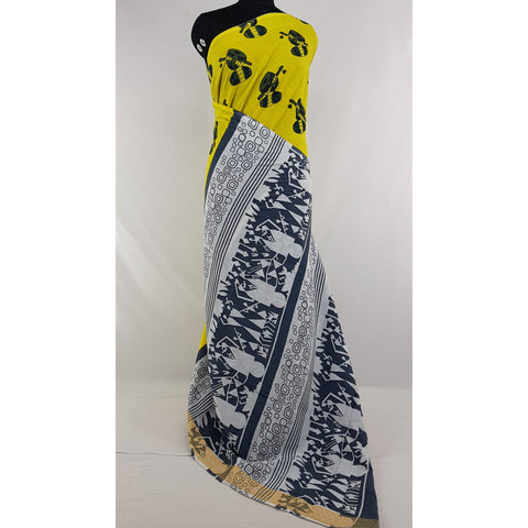 Hand Block Printed Bagru Yellow and Blue color mul mul cotton saree with printed blouse - Vinshika