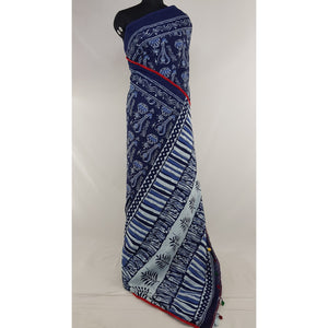 Hand Block Printed Bagru Blue and Cream color mul mul cotton saree with printed blouse - Vinshika