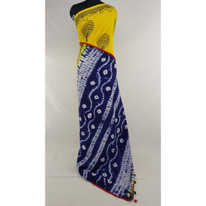 Hand Block Printed Bagru Yellow and Blue color mul mul cotton saree with plain blouse - Vinshika