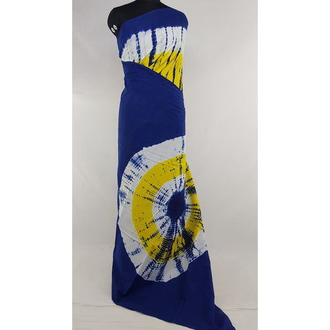 Hand Block Printed Bagru Blue and Yellow color mul mul cotton saree with plain blouse - Vinshika