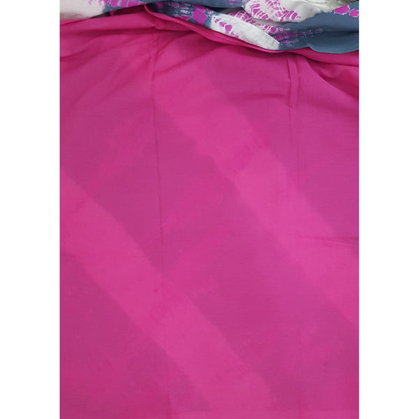 Hand Block Printed Bagru Grey and Pink color mul mul cotton saree with plain blouse - Vinshika
