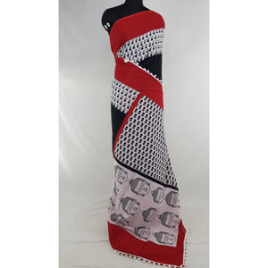 Hand Block Printed Bagru Red and Black color mul mul cotton saree with printed blouse - Vinshika