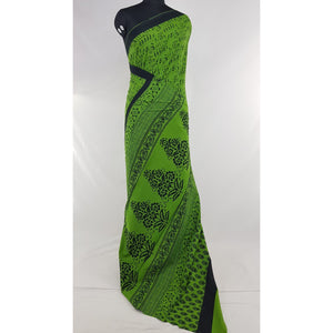 Hand Block Printed Bagru Green and Black color mul mul cotton saree with plain blouse - Vinshika