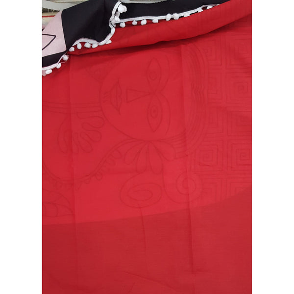 Hand Block Printed Bagru Red and Black color mul mul cotton saree with plain blouse - Vinshika