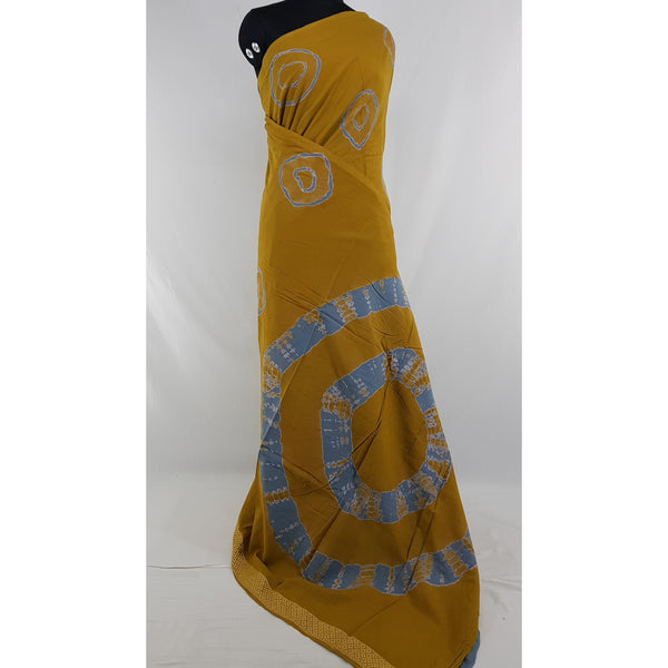 Hand Block Printed Bagru Yellow and Grey color mul mul cotton saree with plain blouse - Vinshika