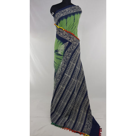 Hand Block Printed Bagru Green and Blue color mul mul cotton saree with printed blouse - Vinshika