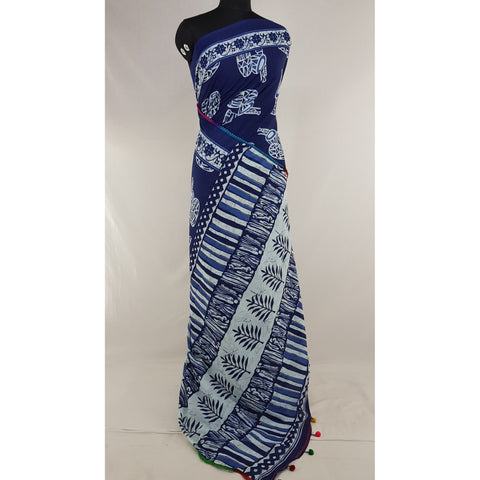 Hand Block Printed Bagru Blue and white color mul mul cotton saree with printed blouse - Vinshika