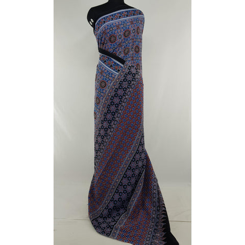 Hand Block Printed Bagru Blue and Black color mul mul cotton saree with printed blouse
