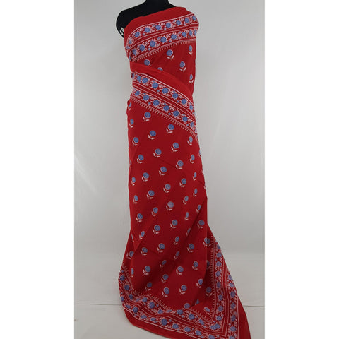 Hand Block Printed Bagru Red and Cream color mul mul cotton saree with plain blouse - Vinshika