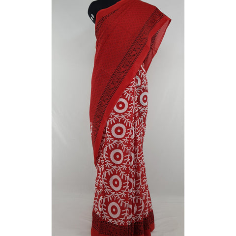 Hand Block Printed Bagru Red and Black color mul mul cotton saree with printed blouse