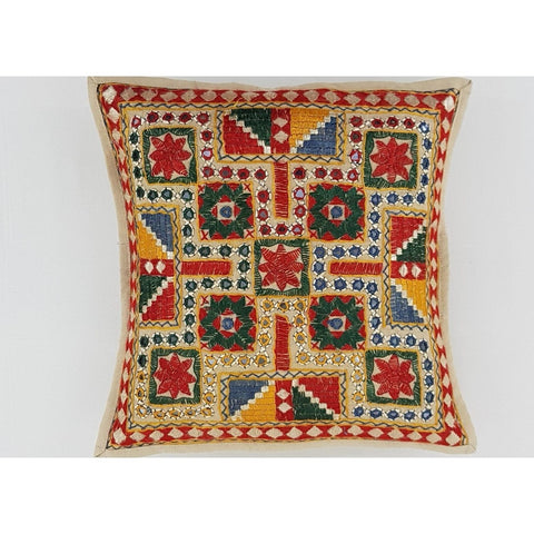 Cotton Hand Embroidered Mirror work Cushion Cover