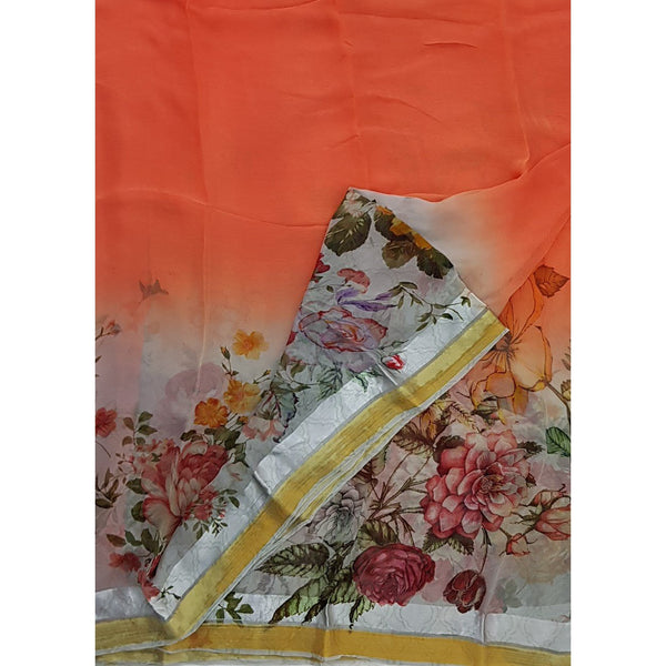 Saffron Color Floral Pure Chiffon Saree with Satin and Golden Border - Vinshika