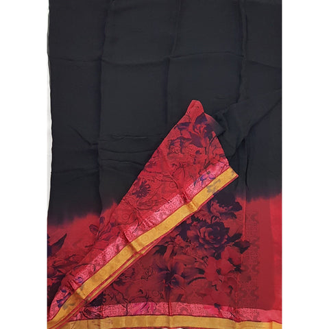 Black Color Floral Pure Chiffon Saree with Satin and Golden Border - Vinshika