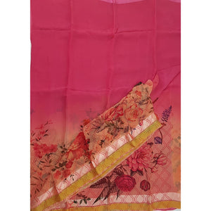 Bubblegum Peach Color Floral Pure Chiffon Saree with Satin and Golden Border - Vinshika