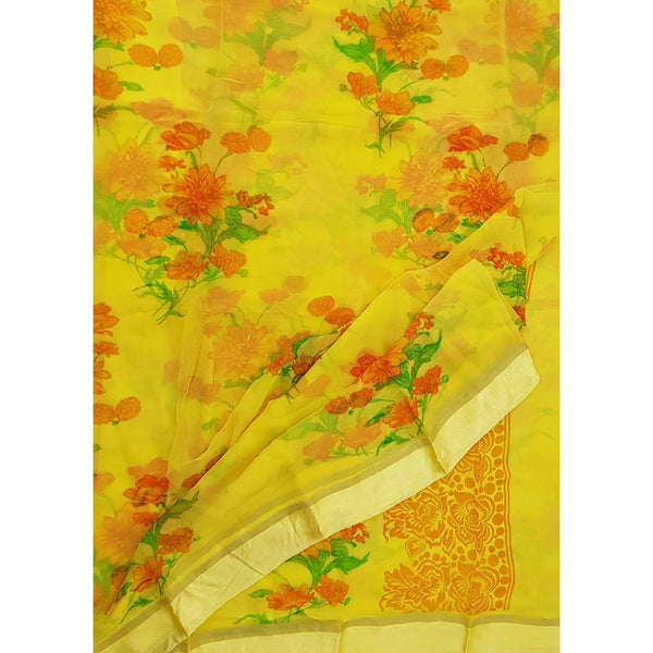 Yellow Color Floral Pure Chiffon Saree with Satin Border - Vinshika