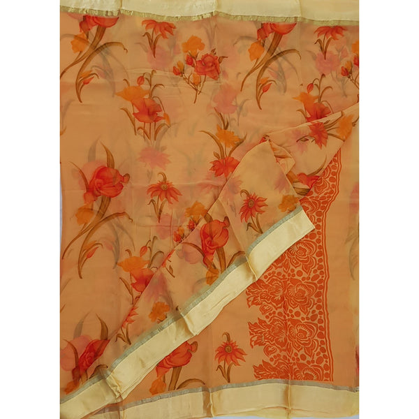 Coral Peach  Color Floral Pure Chiffon Saree with Satin Border - Vinshika