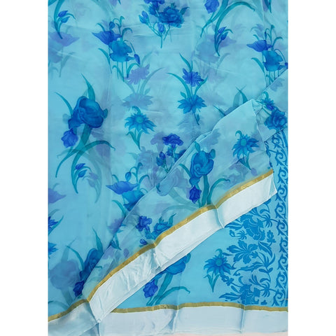 Sky Blue Color Floral Pure Chiffon Saree with Satin Border - Vinshika