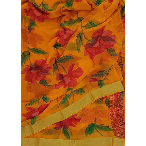 Orange color floral chiffon saree with golden zari border