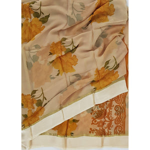 Beige and Yellow color floral chiffon saree with satin border