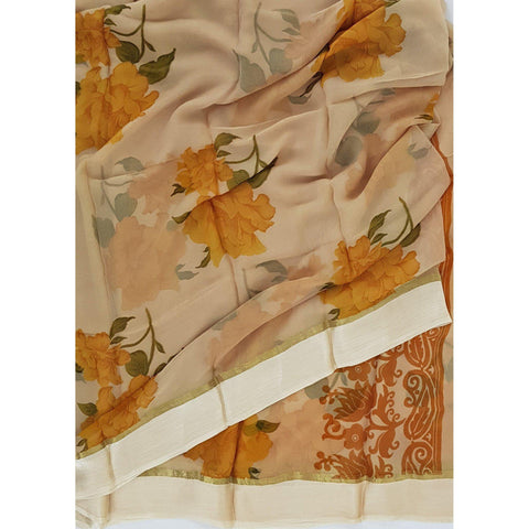 Beige and Yellow color floral chiffon saree with satin border - Vinshika