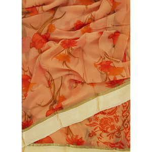 Coral peach color floral chiffon saree with satin border - Vinshika