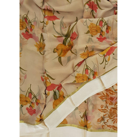 Beige color floral chiffon saree with satin border