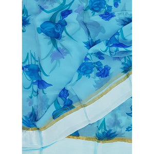 Sky blue color floral chiffon saree with satin border
