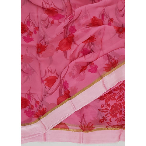 Pink and red color floral chiffon saree with satin border